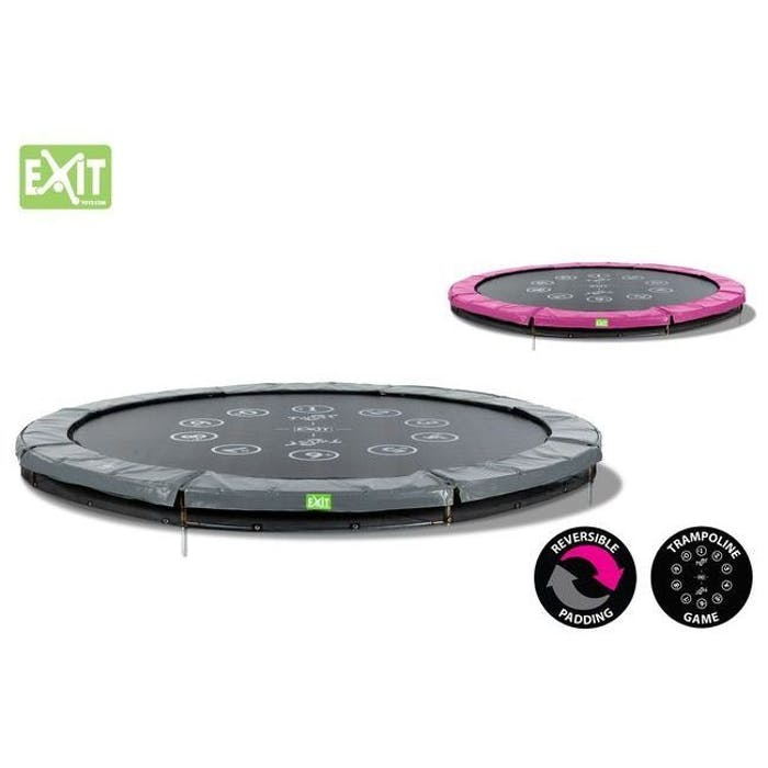 Trampoline twist ground 427 (14ft) roze/grijs