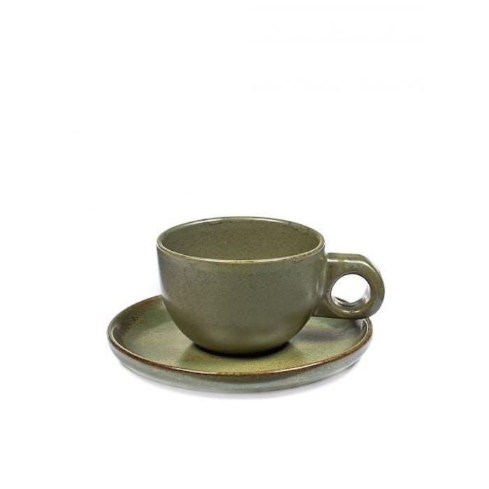 Set van 4 Cafe Lungo Tassen Surface Met Ondertas Camogreen - Giftbox