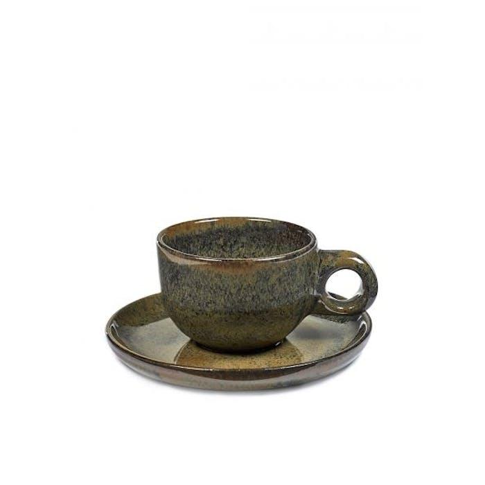 Set van 4 Cafe Lungo Tassen Surface Met Ondertas Indi Grey - Giftbox