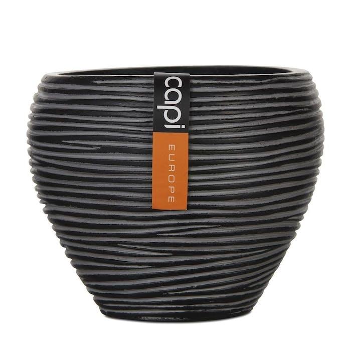 Vase tapered Round Zwart 15x13cm