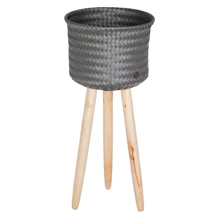 Round Basket Dark grey with wooden feet High