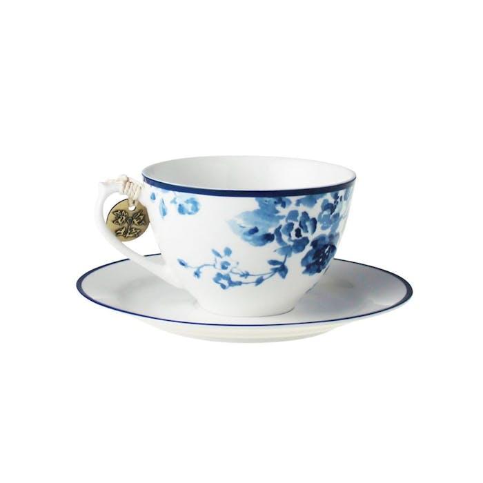 Cappuccino tas met schotel Rose