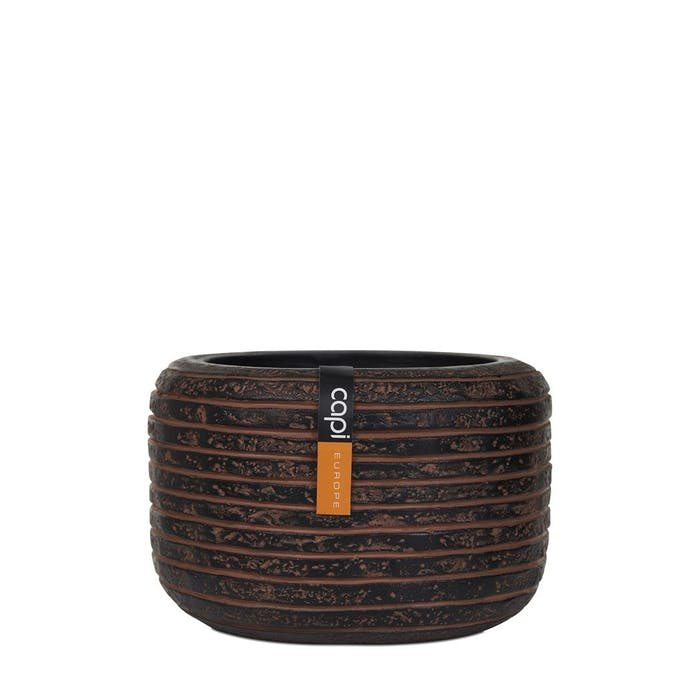 Vase Round Row Brown 15x15x9cm