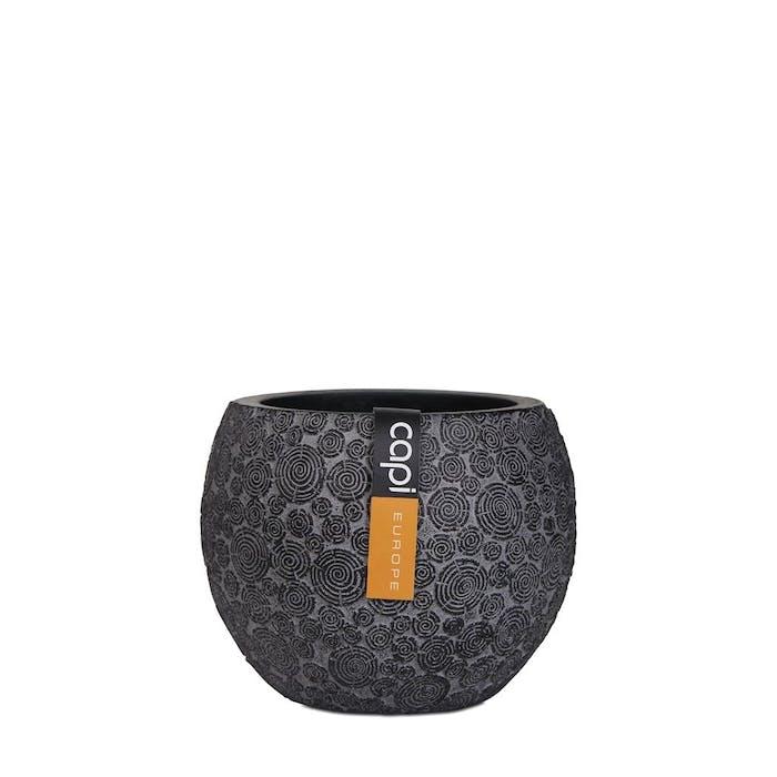 Vase Ball Wood Black 12x10cm