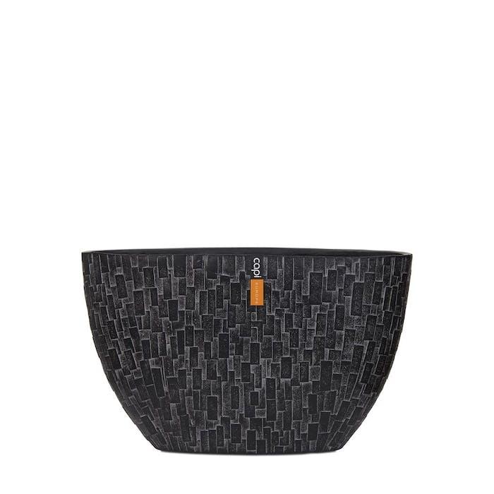 Oval Planter Stone Black 32x12x19cm
