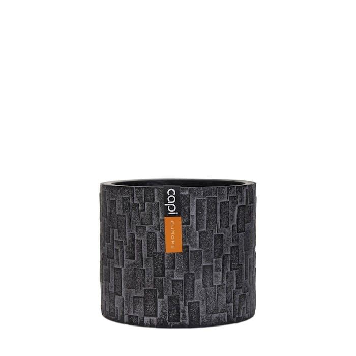 Vase Cylinder Stone Black 14x14x14cm