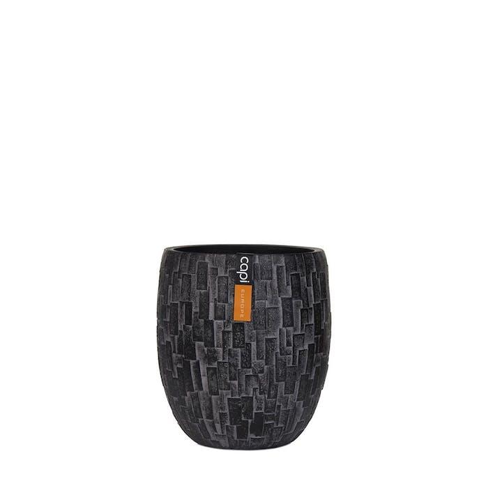 Vase Elegant High Stone Black 18x18x21cm