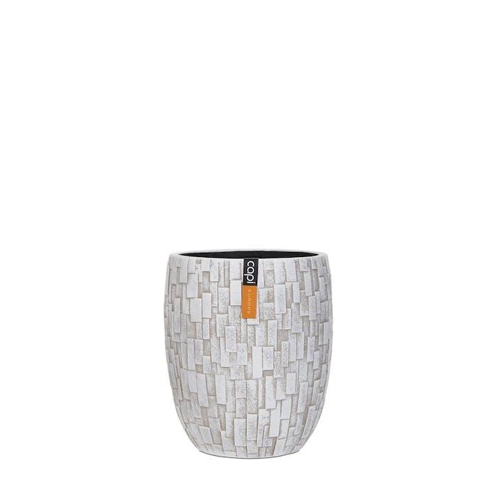 Vase Elegant High Stone Ivory 18x18x21cm
