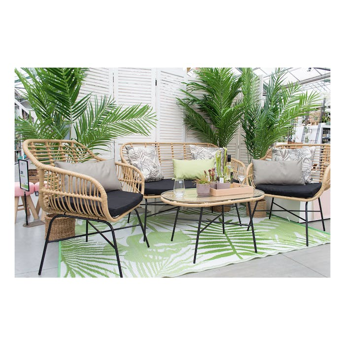 Loungeset Anuida Naturel/Zwart
