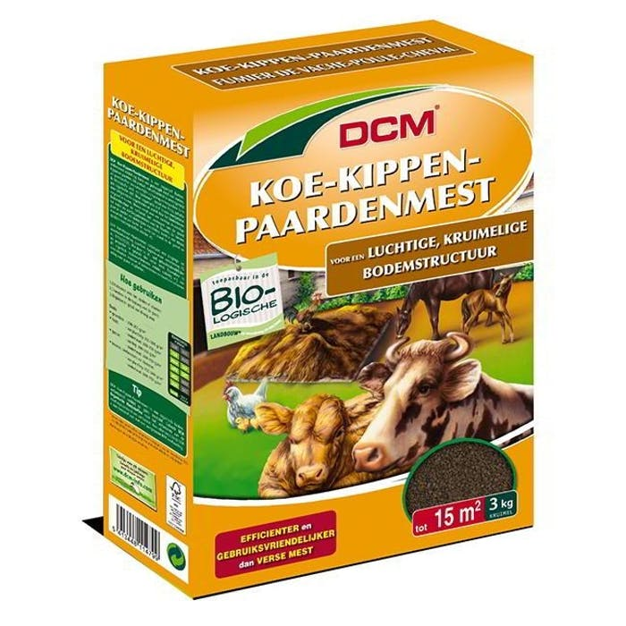 DCM Gedroogde Koe-Kippen-Paardenmest 3 kg - BIO